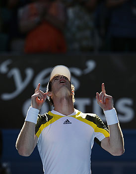 Britain's Andy Murray celebrates after defeating Lithuania's Ricardas Berankis in their third round match. -Photo by AP