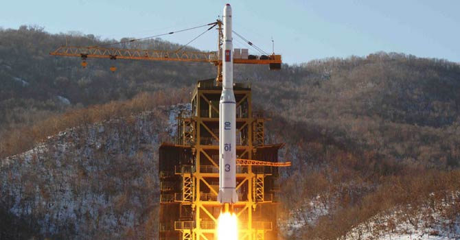 "This file picture taken by North Korea's official Korean Central News Agency (KCNA) on Dec 12, 2012 shows North Korean rocket Unha-3, carrying the satellite Kwangmyongsong-3, lifting off from the launching pad in Cholsan county, North Pyongan province in North Korea. North Korea said on Jan 24, 2013 it planned to carry out a third nuclear test and more rocket launches aimed at its ""arch-enemy"" the United States in response to tightened UN sanctions, but offered no timeframe. - AFP Photo"