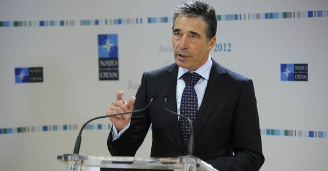 Nato Secretary General Anders Fogh Rasmussen launches his annual report 2012 at the Nato Headquarters in Brussels on Jan 31, 2013. - AFP Photo