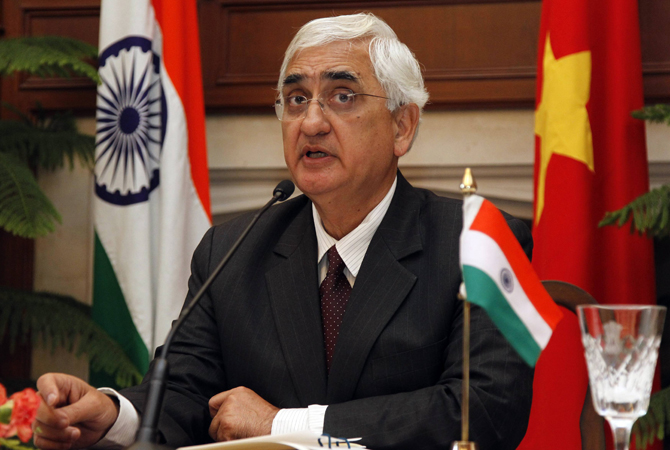 "India's Foreign Minister Salman Khurshid speaks during a news conference in New Delhi January 9, 2013. Indian Foreign Minister Salman Khurshid said Pakistani ambassador Salman Bashir had been summoned and ""spoken to in very strong terms,"" but he warned against ""an escalation of a very unwholesome event that has taken place."""