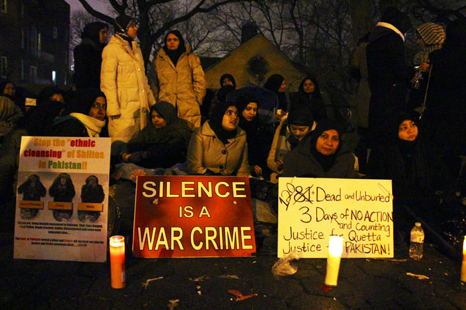 Women making a stand against the killing of Shias in New York City. ?Photo by Sadef Ali Kully/Dawn.com
