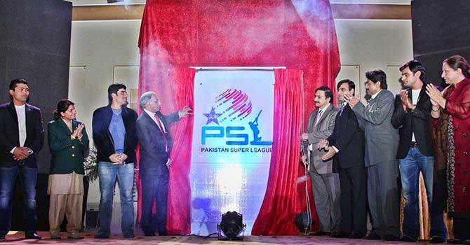 PCB officials, cricketers and former greats watch as former ICC chief and PSL advisor Haroon Lorgat unveils the logo of PSL. — Photo courtesy PCB