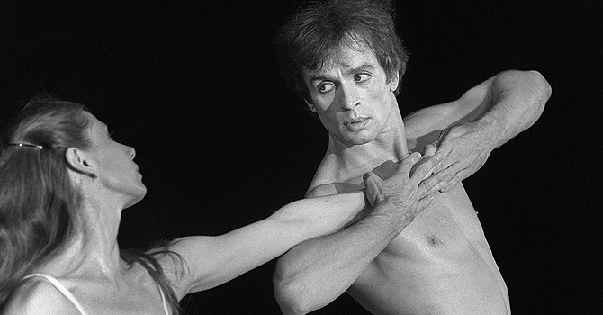 "(FILES) A file picture taken on May 22, 1980 shows Soviet born ballet dancer Rudolf Nureyev (R) performing with Ghislaine Thesmar during a scene from the ballet ""Afternoon of a Faun "" at Le Bourget for the ""Fete de la Liberté"" organised by UDF. Nureyev (1938-1993) studied at the Leningrad Choreographic School, and became a soloist with the Kirov Ballet. While touring with the Ballet in 1961, he obtained political asylum in Paris. Nureyev's virtuosity and expressiveness made him one of the greatest male dancers of the 1960's, in both classical and modern ballets. He became ballet director of the Paris Opera in 1983. January 6, 2013 will mark the twentieth anniversary of his death. AFP PHOTO /DOMINIQUE FAGET"