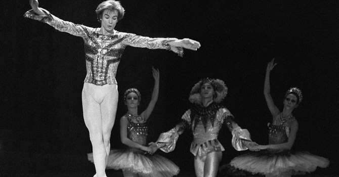 "(FILES) A file picture taken on November 4, 1983 shows Soviet born ballet dancer Rudolf Nureyev performing on the stage of Opera de Paris during a scene from the ballet ""Raymonda"" created by Lydie Pachkoff and Marius Petita. Nureyev (1938-1993) studied at the Leningrad Choreographic School, and became a soloist with the Kirov Ballet. While touring with the Ballet in 1961, he obtained political asylum in Paris. Nureyev's virtuosity and expressiveness made him one of the greatest male dancers of the 1960's, in both classical and modern ballets. He became ballet director of the Paris Opera in 1983. January 6, 2013 will mark the twentieth anniversary of his death. AFP PHOTO PHILIPPE WOJAZER"