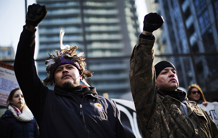 "First Nations protesters take part in the ""Idle No More"" demonstration in Toronto.?Photo by Reuters"