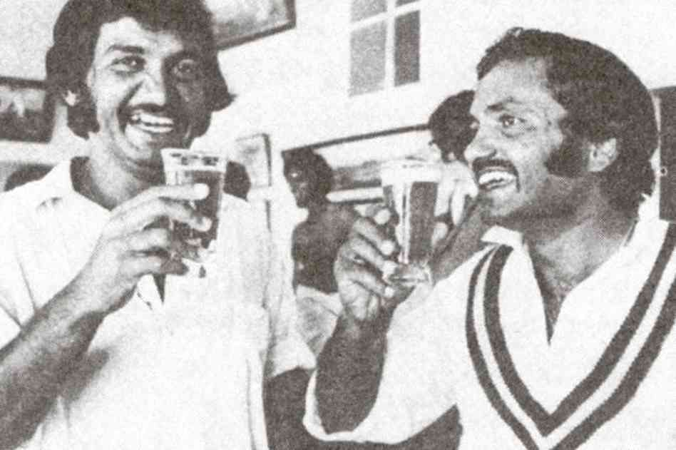 Dashing Pakistani opening batsman, Sadiq Muhammad and skipper Mushtaq Muhammad, celebrate Pakistan's first Test victory on Australian soil with a glass of beer in 1976. Pakistan was one down in the series when they turned the tables on the Australians in the third Test in Sydney and squared the series 1-1. Seen in the background is a shirtless Imran Khan who took 12 wickets in the match. Khan would go on to take more than 300 Test wickets and surpass Mushtaq's captaincy record as captain.