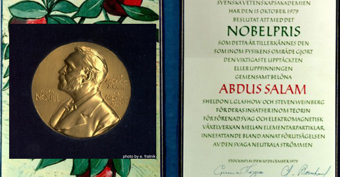 The Nobel Prize medal and memorandum. courtesy of the Marie Curie Library, ICTP, Trieste