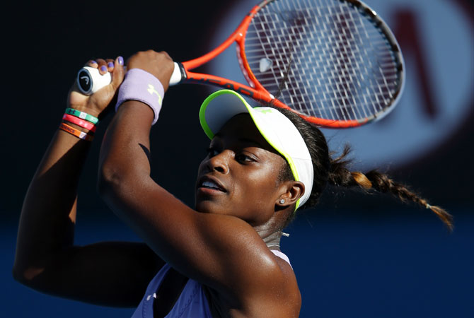 Sloane Stephens of the US makes a backhand return to Britain's Laura Robson during their third round match. -Photo by AP