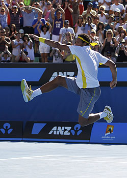 Jo-Wilfried Tsonga of France celebrates defeating Blaz Kavcic of Slovenia in their men's singles match. -Photo by Reuters