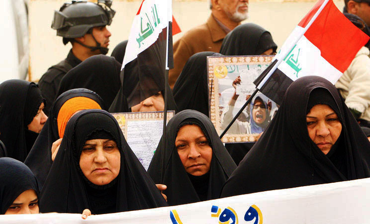 Women take part in a protest in the southern city of Basra. Thousands took to the streets in predominantly Shiite southern Iraq in a show of support for the Shiite premier Nuri al-Maliki after more than two weeks of protests in the mainly Sunni Arab north and west. -Photo by AFP