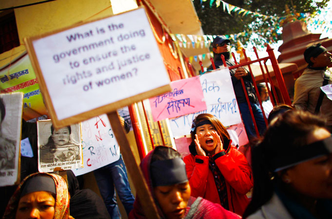 Hundreds of Nepalese campaigners have protested over the alleged rape and robbery of a maid by government officials, echoing widespread anger in neighbouring India over violence against women. -Photo by AP