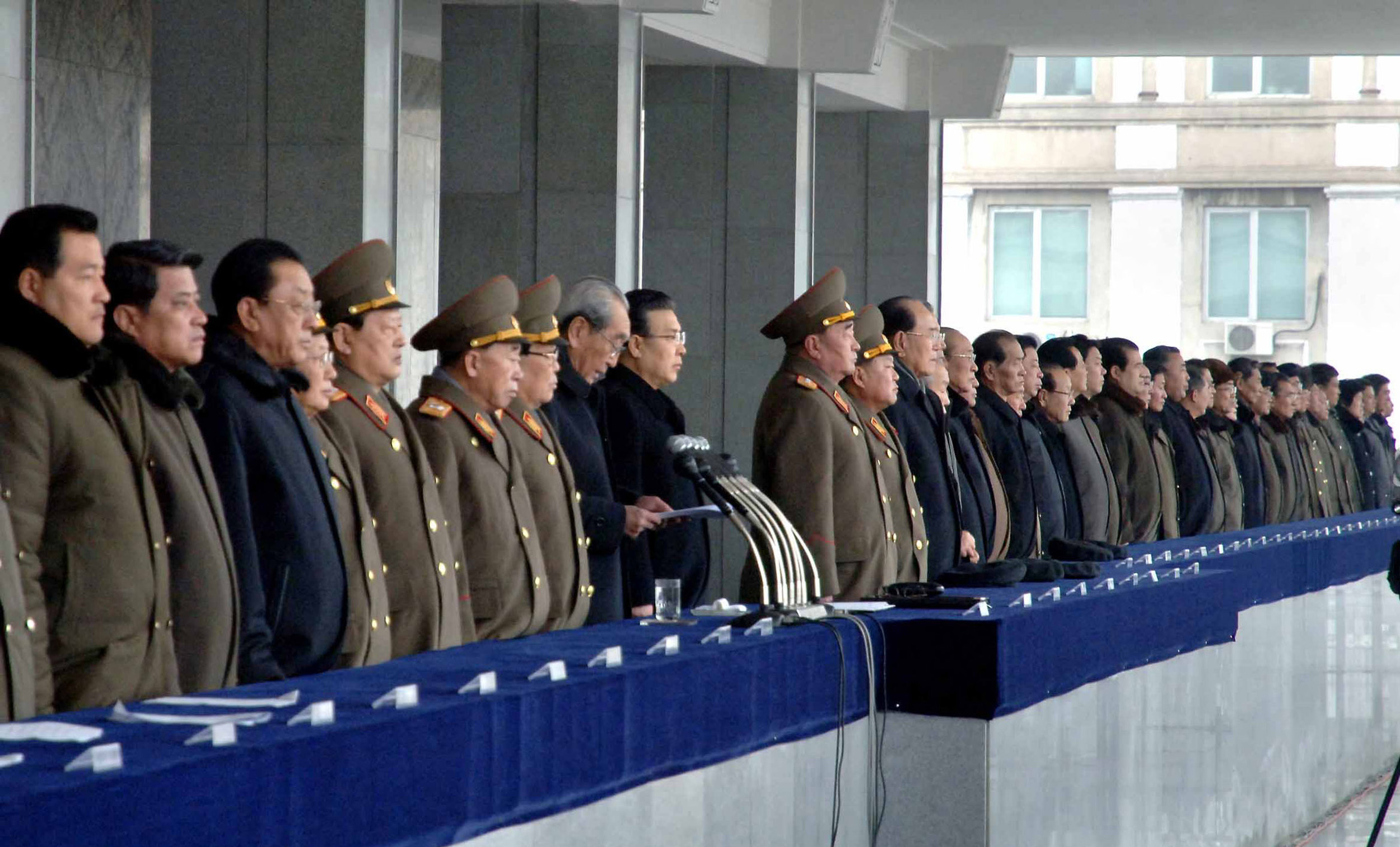 This picture, taken on North Korea's official Korean Central News Agency on February 14, 2013 senior officers of the Workers' Party of Korea, government and Korean People's Army attending a rally to celebrate the successful third underground nuclear test at the Kim Il Sung Square in Pyongyang.   AFP Photo / KCNA via KNS