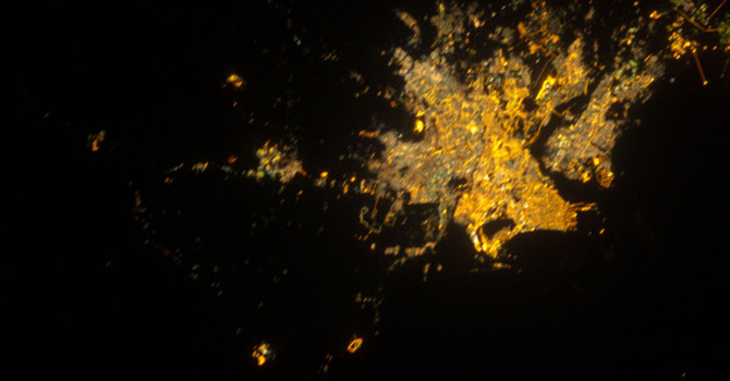 Karachi photographed from the ISS on 9th Dec 2012 using a 180mm lens. –Photo Credit: ESA