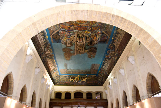 Mural painted by Sadeuqin on the Frere Hall ceiling in Karachi. - Photo by Mahjabeen Mankani/Dawn.com