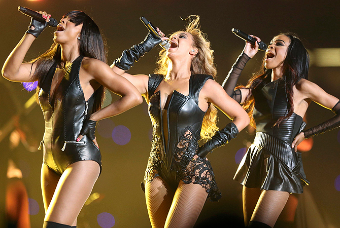 Beyonce (C) and Destiny's Child perform during the half-time show of the NFL Super Bowl XLVII football game in New Orleans, Louisiana, February 3, 2013.   — Reuters Photo