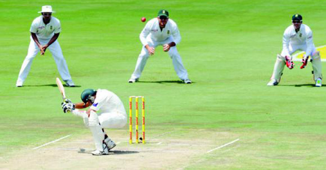 Sitting ducks: Pakistani batsmen completely failed to cope with quick bowling on fast South African wickets in the recently concluded series. They were bounced out 3-0 in the rubber.