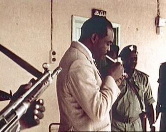 Gaffar Nimeiry lights a cigarette after taking over power in Sudan, 1969.