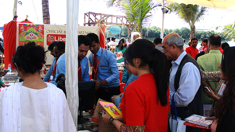 People flock around a book stall. -Photo by Shameen Khan/Dawn.com