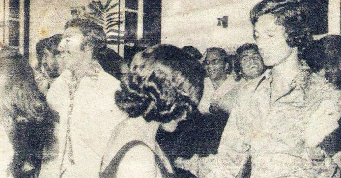 Post-match celebrations: Pakistan team celebrate with champagne and dancing at a West Indian nightclub. Seen in the picture are Wasim Raja (far left), Mudassar Nazar (left), Javed Miandad (right) and Sikandar Bakht (far right).