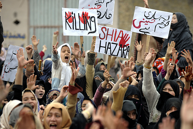 Pakistani Shia Muslims shout slogans as they protest against the bombing which killed 89 people, in Quetta on February 18, 2013. ? AFP Photo