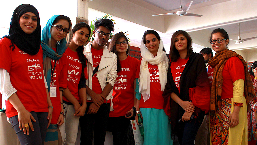 Volunteers from IVS Farwa, Sakina, Nirmal, Ferozah, Narmeen, Mohammad, Dania. -Photo by Shameen Khan/Dawn.com
