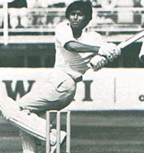 A young Javed Miandad on his way to notch his first Test century. He made 163 against the visiting New Zealand side in Lahore (Oct. 1976). Pakistan won the match.