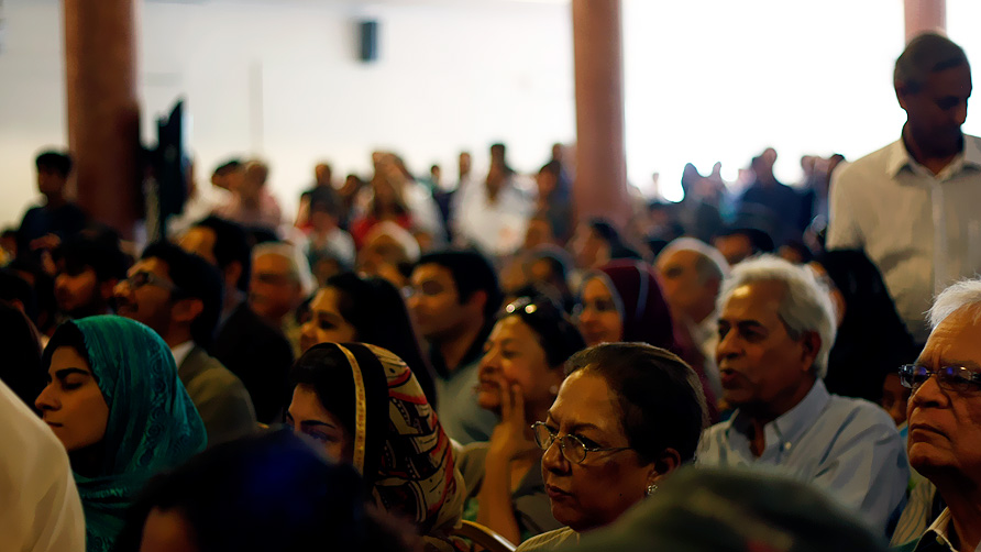 People enjoy Anwar Massod's reading at one of the last sessions of the festival. - Photo by Eefa Khalid/Dawn.com