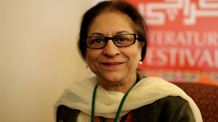 "Asma Jehangir spoke on a range of subjects, including the rights of minorities and the blasphemy law. My position on blesphemy laws is clear. These laws should't have been made. These laws have become a tool in the hands of vicious people. Case in point Sherry Rehman's case,"" she said. - Photo by Sara Faruqi/Dawn.com"