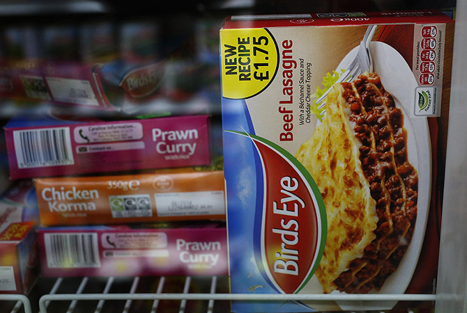 A package of Birds Eye Beef Lasagne 400g is displayed in the freezer of a convenience store in London. Frozen food maker Birds Eye on Friday said it would withdraw some products in Britain and Ireland, including traditional spaghetti bolognese (340g), shepherd's pie (400g) and beef lasagne (400g), after it found traces of horse DNA in one of its ready meals sold in Belgium.