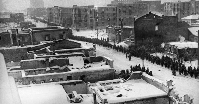 A file picture taken on Feb 1, 1943, shows columns of Nazi German Wehrmacht soldiers passing through the streets of Stalingrad, after their surrender to the Red Army. In a new display of national pride and reminder of its status as a world power, Russia remembers this weekend the Red Army victory in the battle of Stalingrad over invading Nazi forces, one of the bloodiest battles in human history. - AFP Photo