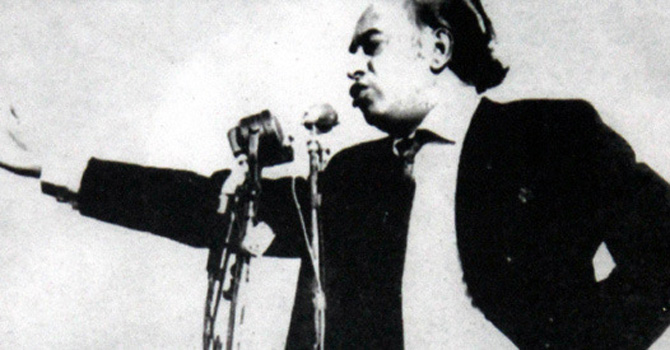 Z A. Bhutto speaking at a leftist students rally in Karachi in 1969. He became the first popularly elected Prime Minister in Pakistan and his party, the PPP, won a majority in former West Pakistan on a manifesto promising the imposition of Islamic Socialism.