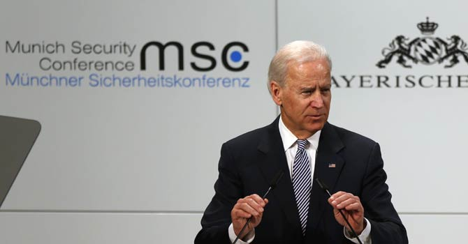 US Vice President Joe Biden speaks at the Security Conference in Munich, southern Germany, on Saturday, Feb 2, 2013. The 49th Munich Security Conference started Friday afternoon with experts from 90 delegations. - AP Photo