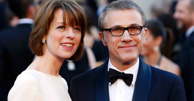 """German-Austrian actor Christoph Waltz, best supporting actor nominee for his role in """"Django Unchained"""", and his wife Judith Holste arrive at the 85th Academy Awards in Hollywood, California February 24, 2013.  — Reuters Photo"""