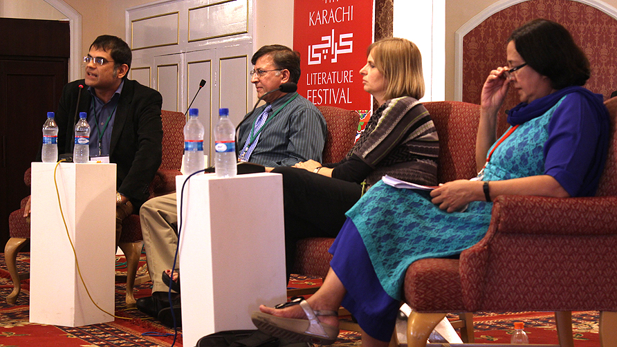 The panelists  at the Confronting the Bomb session. - Photo by Shameen Khan/Dawn.com
