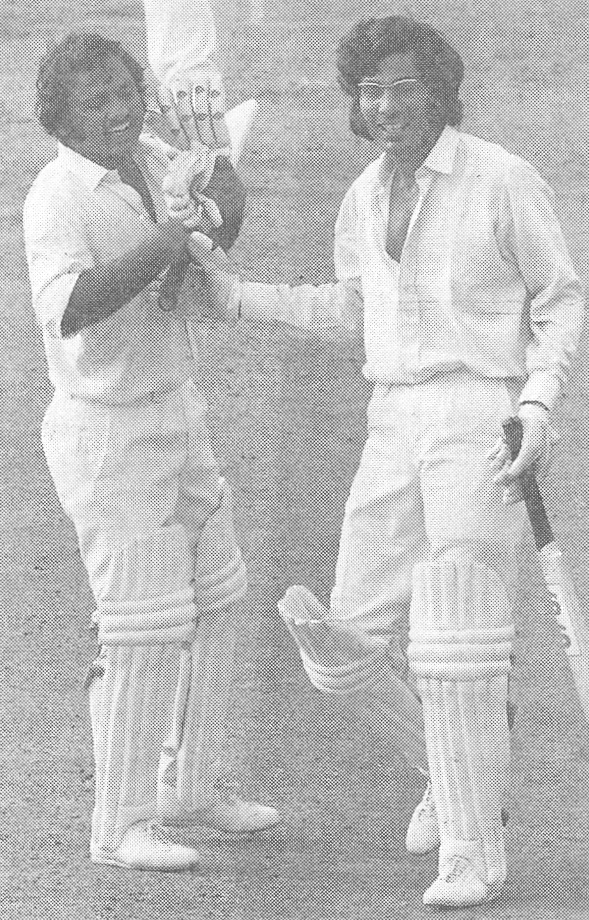 Mushtaq Muhammad (left) with Zaheer Abbas, 1974.