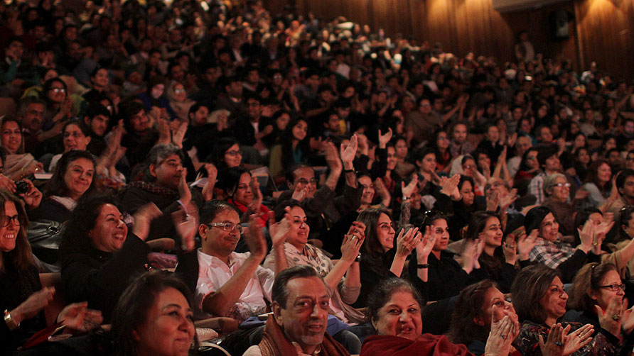 The crowds were jam packed  to see Mohsin Hamid. - Photo by Sara Faruqi/Dawn .com