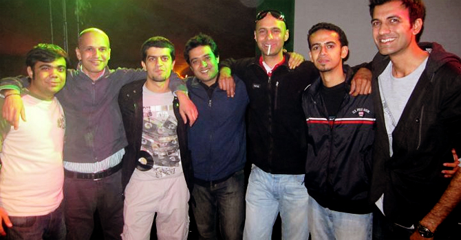 DJ's pose for a photograph at the Nuit de Electronica Festival in Lahore. (L-R) Fuzzy Nocturnal, Project Fushion, Getafix, Faisal Baig, Salim Ahmed, Bilal Brohi and Ali Reza. — Courtesy Photo