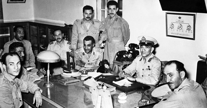 Leading members of The Free Officers Movement soon after overthrowing the Egyptian monarchy in 1952. Gammal Abdel Nasser is third from right (sitting).