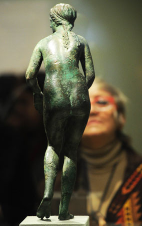 A bronze statuette of the Greek goddess Aphrodite also on display during the exhibition. —Photo by AFP