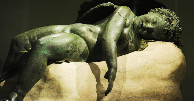 A statue of 'Sleeping Eros' is on display during a press preview of the Sleeping Eros exhibition at the Metropolitan Museum in New York. —Photo by AFP