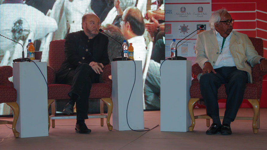 George Galloway with Irfan Hussain, - Photo by Dawn.com