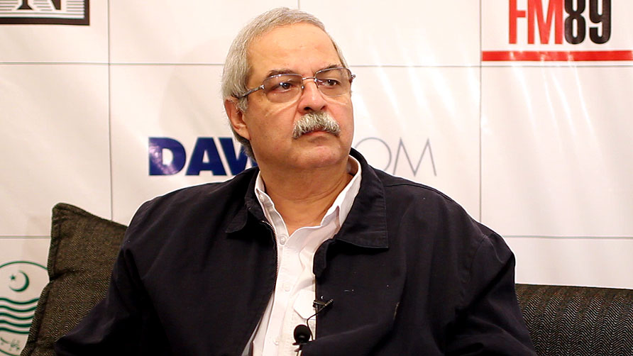 Hameed Haroon spoke on film, media and music in Pakistan. - Photo by Sara Faruqi/Dawn.com