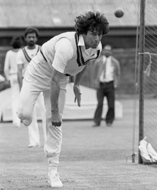 Imran Khan bowling in the nets watched by Wasim Raja (1981). Dr. Israr accused him of rubbing the cricket ball across his groin 'in the most suggestive manner' and 'corrupting young women.'