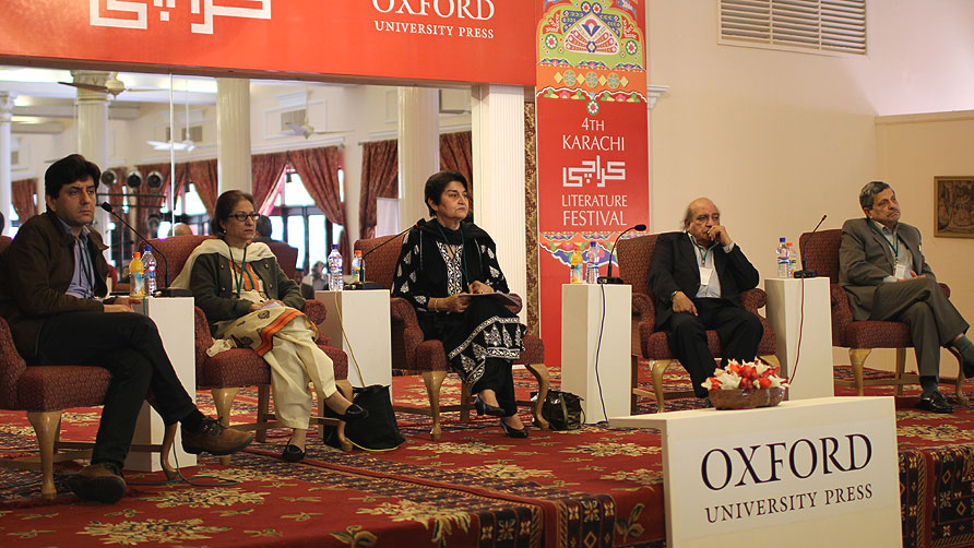 The panelists from Rights and Wrong: Human Rights in Pakistan. Ali Dayan Hasan, Asma Jehangir, Justice Nasira Iqbal, IA Rehman and Hamid Khan (L-R). - Photo by Sara Faruqi/Dawn.com