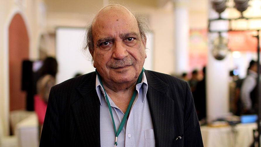 I.A Rehman at the end of the session called Human Rights in Pakistan. - Photo by Sara Faruqi/Dawn.com