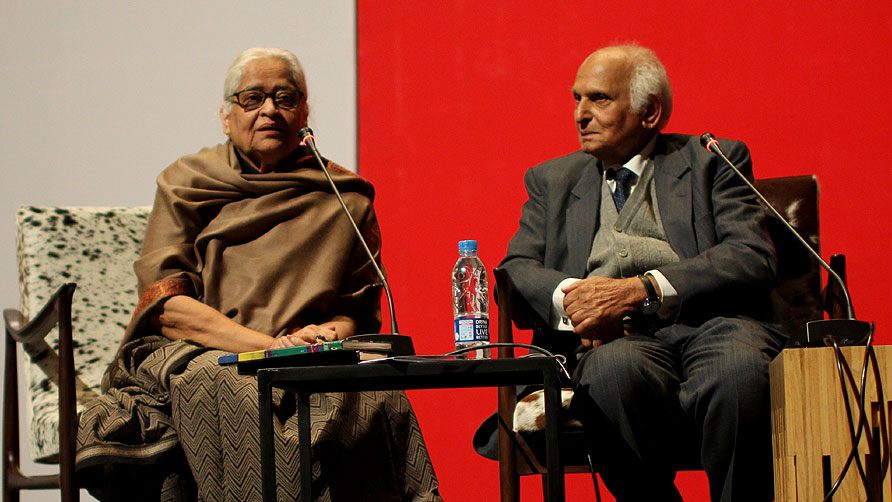 Zehra Nigah with Intizar Hussain. -Photo by Sara Faruqi/Dawn.com