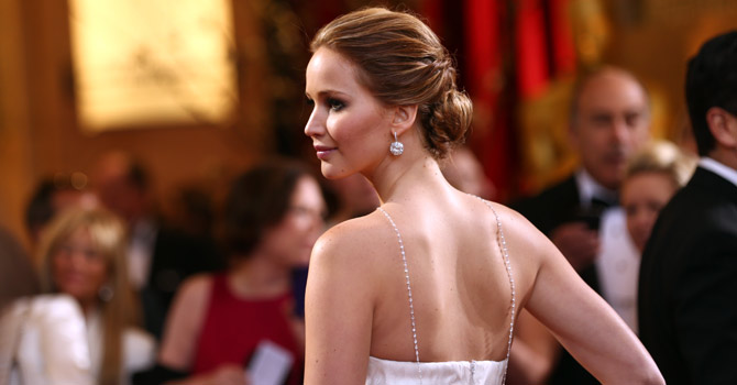Actress Jennifer Lawrence arrives at the Oscars at the Dolby Theatre on Sunday Feb. 24, 2013, in Los Angeles. — AP Photo