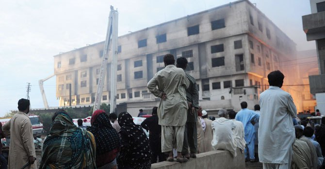 A view of the factory in Baldia town which was struck by fire on September, 11, 2012, killing at least 258 workers. (File photo)