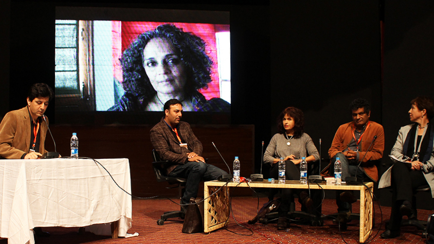 Ali Dayan Hassan, Basharat Peer, Selma Dabbagh, Mohammed Hanif and Lyse Doucet. -Photo by Tabinda Siddiqi