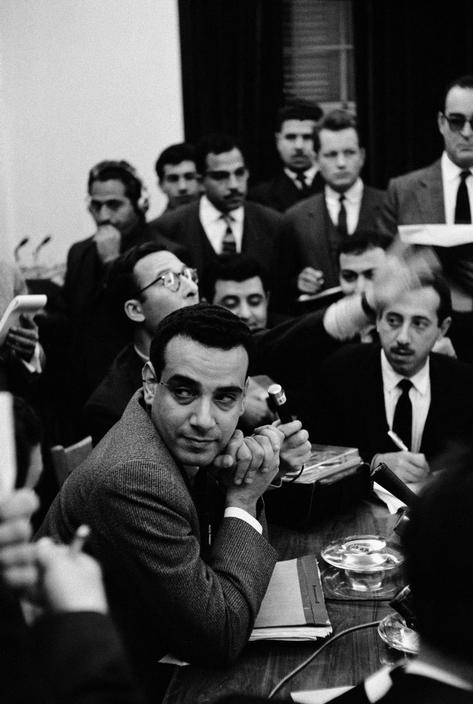 Members of Iraq's Ba'ath Socialist Party holding a press conference after taking over power in 1963.
